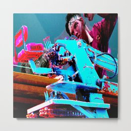 Quick!  Engage the Wax Machine! Metal Print