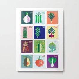 Vegetable Stamps 12 Metal Print