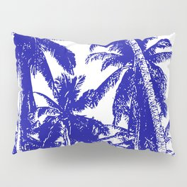 Palm Trees Design in Blue and White Pillow Sham