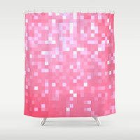 bubblegum Shower Curtains featuring Bubblegum Pink Pixels by 2sweet4words Designs