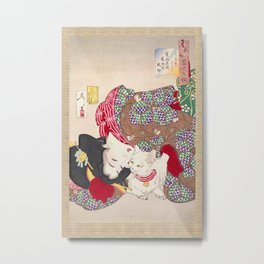 Japanese Lady Playing with her cat Metal Print