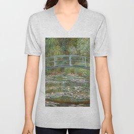 Monet, Water Lilies and Japanese Bridge, 1854 Unisex V-Neck