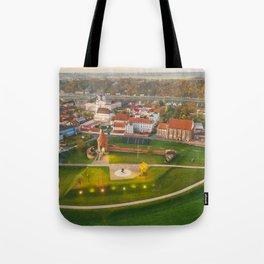 Kaunas old town, aerial view Tote Bag