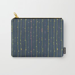 Curly doodle stripes pink and lime on a dark blue background Carry-All Pouch