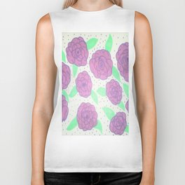 Purple Rose Pattern Biker Tank