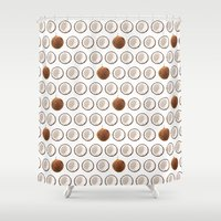 coconut wishes Shower Curtains featuring Coconut by GOLDASTIC