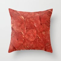 meat Throw Pillows featuring mEAT by Jevan Strudwick
