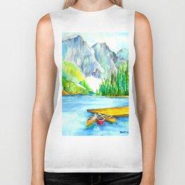 Lake Louise Watercolor Biker Tank