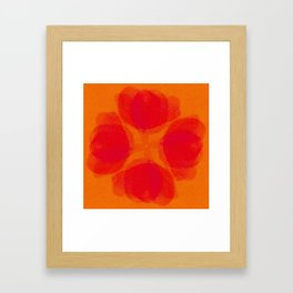 orange and flowers pattern Framed Art Print