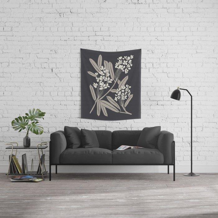 Boho Botanica Black Wall Tapestry