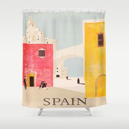 Spain Vintage Travel Poster Mid Century Minimalist Art Shower Curtain