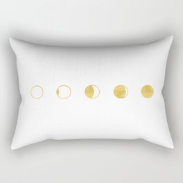Moon Phase, Lunar Cycle, White and Gold, New Moon, Geometric Circles, Modern, Simple, Luxe Rectangular Pillow