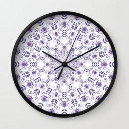 Ultraviolet spring floral  Mandala Wall Clock