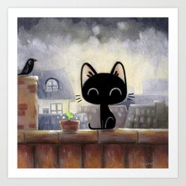 Black cat on the roof Art Print