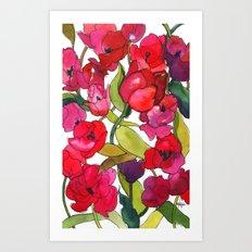 Scarlet Tulips Art Print