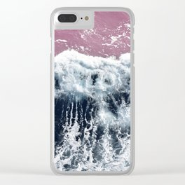 Aerial View, Blue Waves Clear iPhone Case