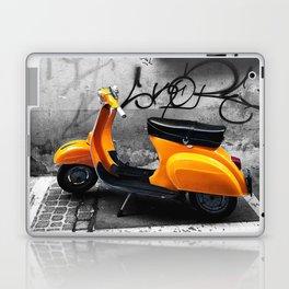 Orange Vespa in Bologna Black and White Photography Laptop & iPad Skin