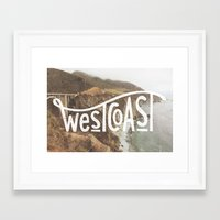 west coast Framed Art Prints featuring West Coast by cabin supply co