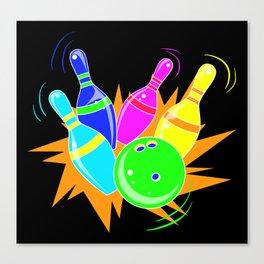 Neon Vintage Retro Strike Bowling. - Gift Canvas Print