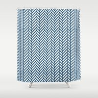 herringbone Shower Curtains featuring Herringbone Navy by Project M
