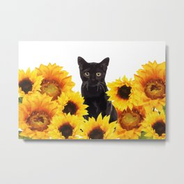 Sunflower Black Cat Metal Print
