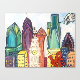 Philadelphia Skyline with Sports Teams: LOVE Statue, Phillie Phanatic, and Eagles Canvas Print