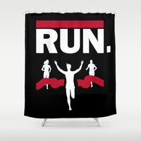 run Shower Curtains featuring RUN. by Ionic Slasher