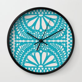 Fiesta de Flores Turquoise Wall Clock
