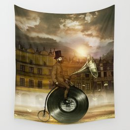 Music Man in the City, by Eric Fan and Viviana González Wall Tapestry