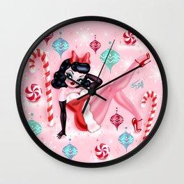 Christmas Pinup Girl Wall Clock