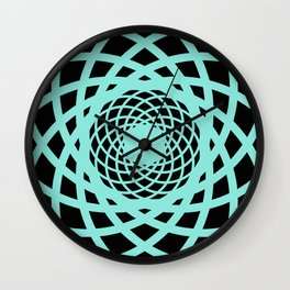Circle rectangles round pattern Design turquoise Wall Clock
