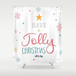 Have A Jolly Christmas Star Mistletoe Shower Curtain