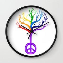 Rainbow Peace Sign Tree Wall Clock