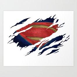 Superman BvS Ripped Symbol Art Print