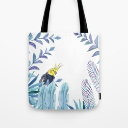 Cockatiel with tropical foliage Tote Bag