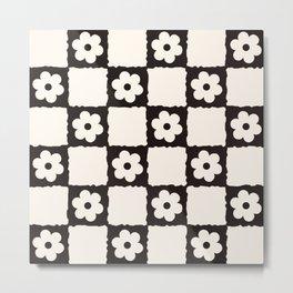 Retro Flower Checker in Black&White Metal Print