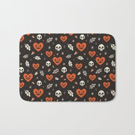 I Heart Halloween Pattern (Black) Bath Mat
