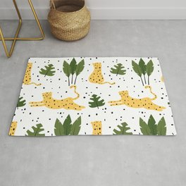 cute trendy abstract pattern background with leopards and tropical leaves Rug