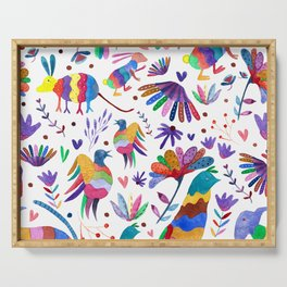 Otomi animals and flowers colorful Serving Tray