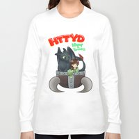 hiccup Long Sleeve T-shirts featuring Hiccup and Toothless in a Helmet by snowrunt