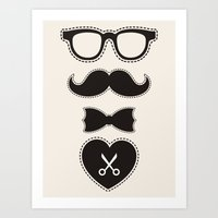 mustache Art Prints featuring Mustache by frail