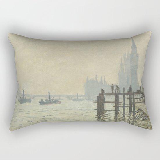 The Thames below Westminster by Claude Monet Rectangular Pillow