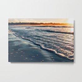 Sunrise Walk on the Beach Metal Print