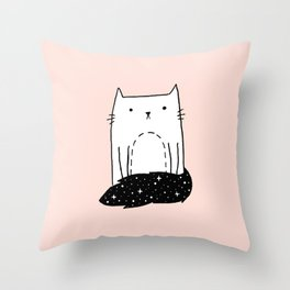 Cat with Tail Throw Pillow