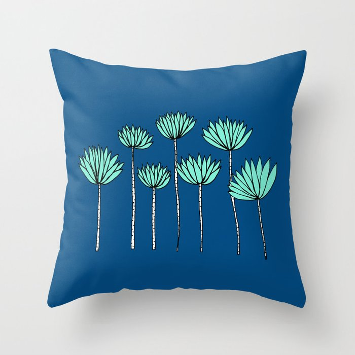 Blue and Teal Tropical Botanical Print by Emma Freeman Designs Throw Pillow