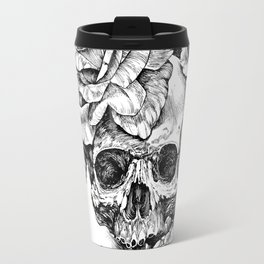 Black and White skull with roses pen drawing Travel Mug