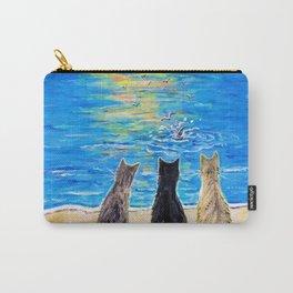 Cat Beach Sunset 2 Carry-All Pouch