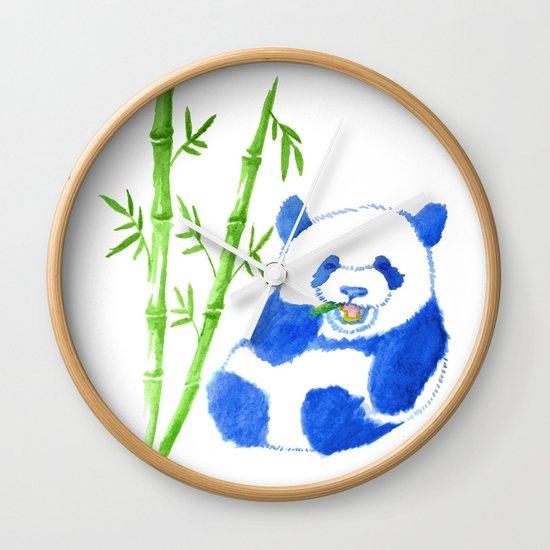 Panda eating bamboo Watercolor Print Wall Clock