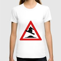 snowboard T-shirts featuring Snowboard road sign by Komrod