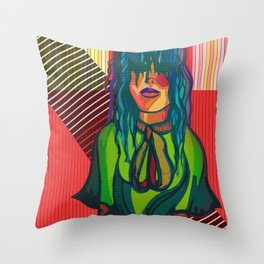 Color Blind - Bright Colorful Surreal Portrait of Woman, Painting Throw Pillow
